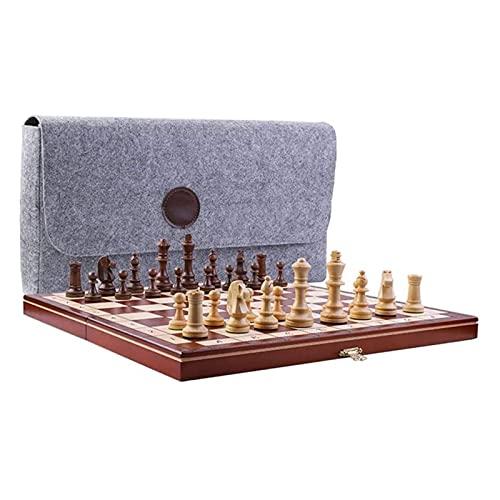 RUIXINLI Conjunto de ajedrez clásico Juego de ajedrez magnético de Madera Maciza Junta de Puzzle de Junta de ajedrez portátil Plegable para Sala de Estar, Campo, Oficina.