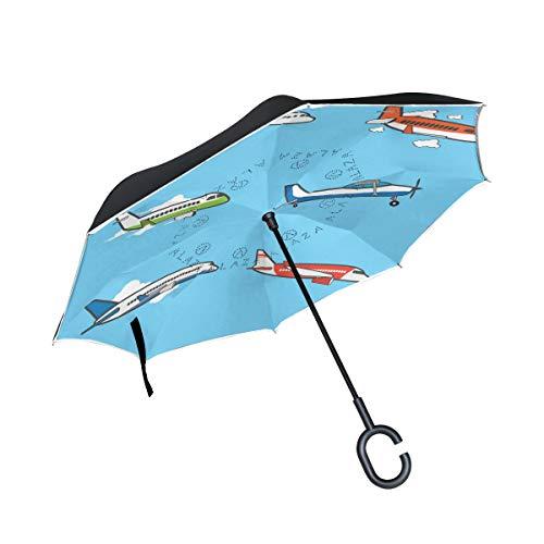 LINDATOP Umgekehrter Regenschirm im Flugzeug-Design, automatisches Öffnen, doppellagig, winddicht, UV-Schutz, umgekehrt, Regenschirm für Autoregen und Außenbereich