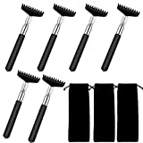 6Pcs Back Scratcher, Extendable Back Scratchers for Adults, Oversized Portable Stainless Steel Telescoping Back Scratcher Tool with Canvas Carrying Bag