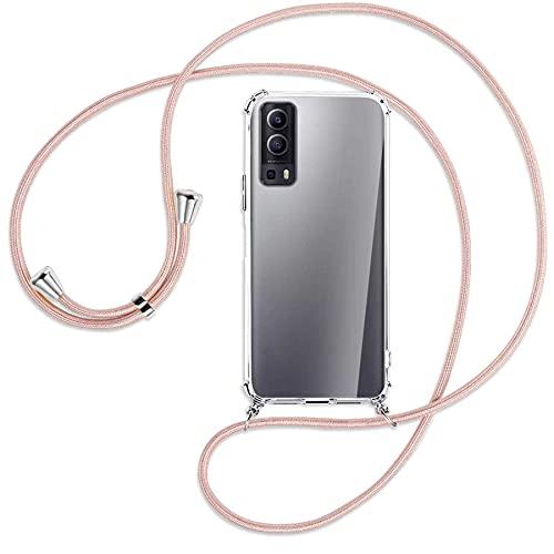 mtb more energy® Handykette kompatibel mit Vivo Y72 5G, vivo Y52 5G (6.58'') - roségold - Smartphone Hülle zum Umhängen - Anti Shock Full TPU Hülle