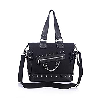 Women Fashion Rivet Handbag Purse Canvas Punk Tote with Shoulder Strap Crossbody Bag Large Capacity Black  Black