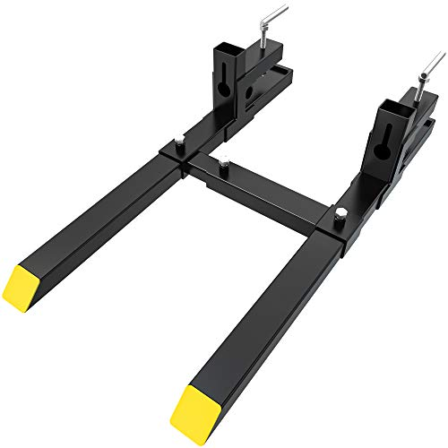 """YINTATECH Clamp on Heavy Duty Pallet Forks 30"""" 1500lbs Capacity with Adjustable Stabilizer Bar for Loader Bucket Skidsteer Tractor"""
