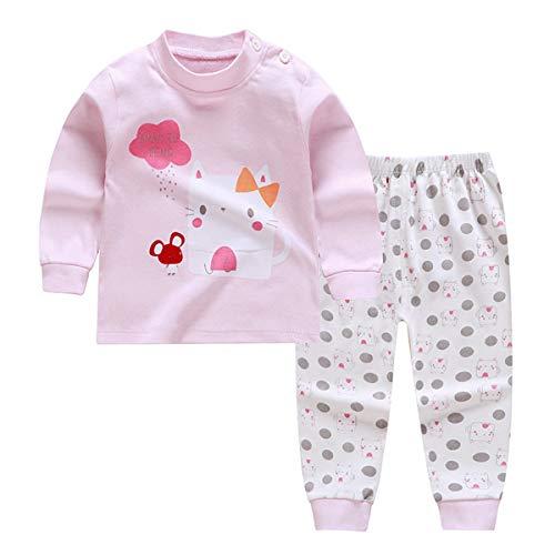 Pijamas de Manga Larga para Niños, Morbuy Pijamas Dos Piezas Bebe Niño y Niña Otoño Suave Y Cómoda Ropa 100% Algodón Ceñido Mantener Caliente Camisa + Pantalón (73cm,Gato Rosa)