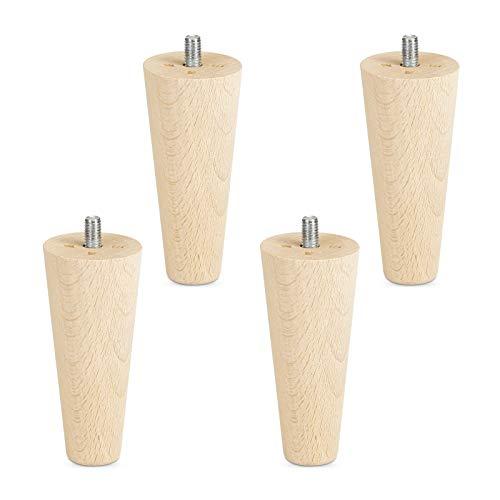4er Set Möbelfüße Buche roh H 100 mm/konisch Ø 45/25 mm mit Gewindestift M8 von Sotech