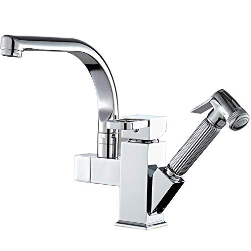 Chroom keukenkraan 360 Deg. Mixing tap voor Rotary knop Mixing tap Single Lever Messing tuit 2 Drainage of Water
