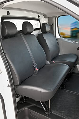 WALSER 11497 Housse de Voiture Transporter sur Mesure, Housse de siège en Similicuir Anthracite Compatible avec Renault Trafic II, Opel Vivaro, Nissan Primastar, Banc Simple et Double