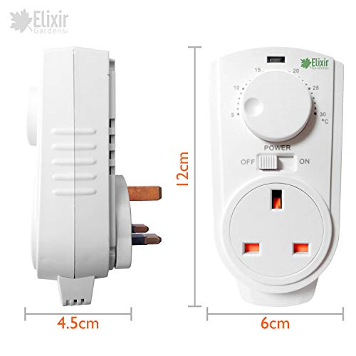 Elixir Gardens ® Plug in Analogue Thermostat Controller Heating Cooling