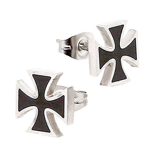 1 Paar Edelstahl Ohrstecker Ohrringe Kreuz Ohrschmuck Silberfarben Schwarz Herren Biker Cross