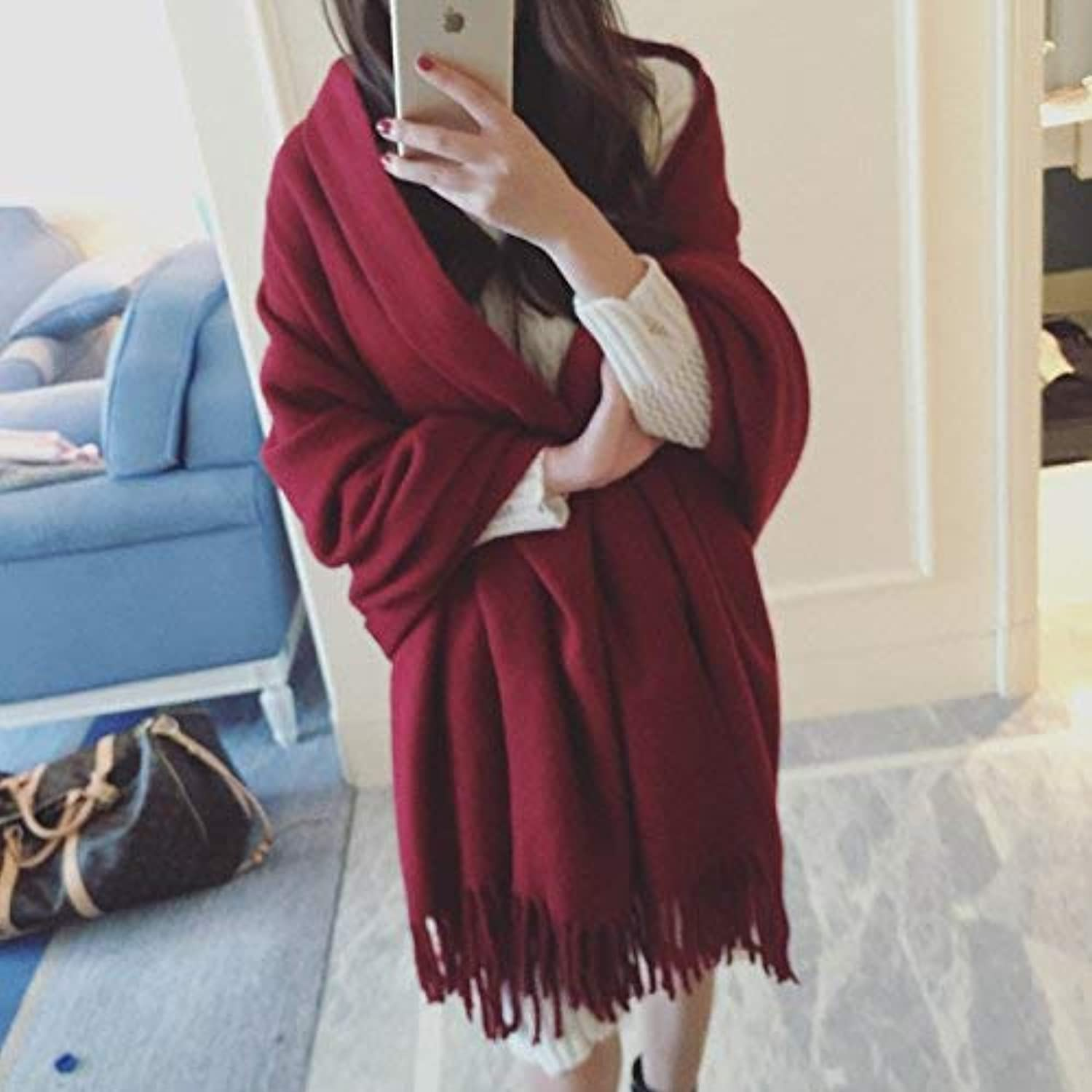 Long Scarf Autumn and winter retro ladies oversized solid color wool scarf literary fan shawl scarf tide Fashion Scarf