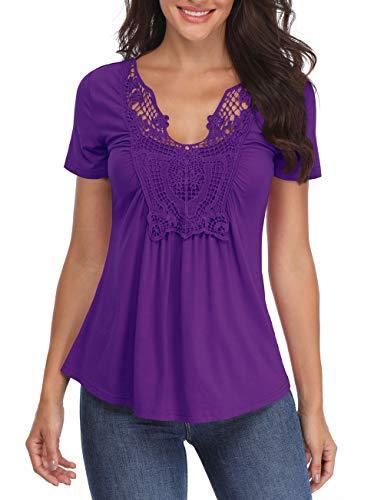 Tops para Mujer Manga Corta púrpura Camisetas Blusas de Cuello en V Pecho Túnica de Color sólido...