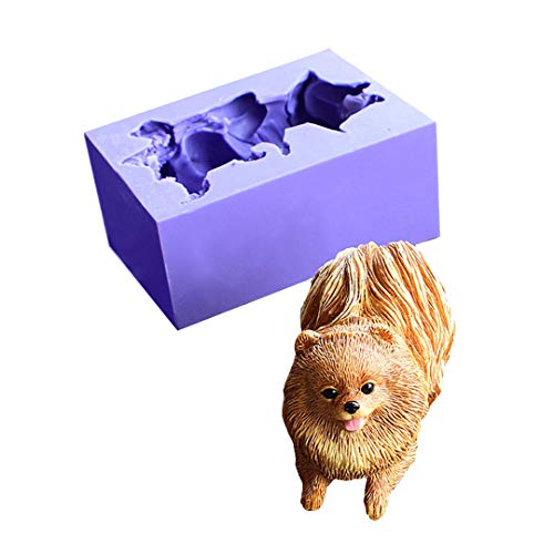 Cute Dog Silicone Molds Chocolate Fondant Molds ,Runloo 3D Puppy Dog Soap Molds Pomeranian Candle Moulds
