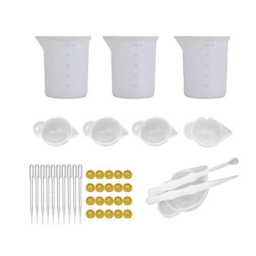 Vasos medidores de silicona para resina de 100 ml con varillas de mezcla, pipeta de gota, cacerolas de dedos, cuchara de plástico, alfombrilla de silicona para moldes de resina epoxi, bricolaje