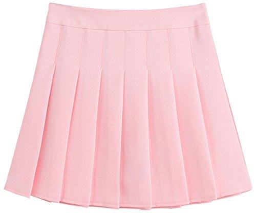 chouyatou Women's Simple High Waist All Around Pleated A-Line Skirt (Medium, Pink)