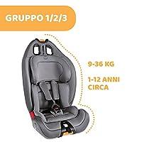 Chicco Gro-Up 123 Seggiolino Auto 9-36 kg Reclinabile, Gruppo 1/2/3 per Bambini da 1 a 12 Anni, Facile da Installare, con Poggiatesta Regolabile, Riduttore e Soffici Imbottiture - Pearl, Grigio #1