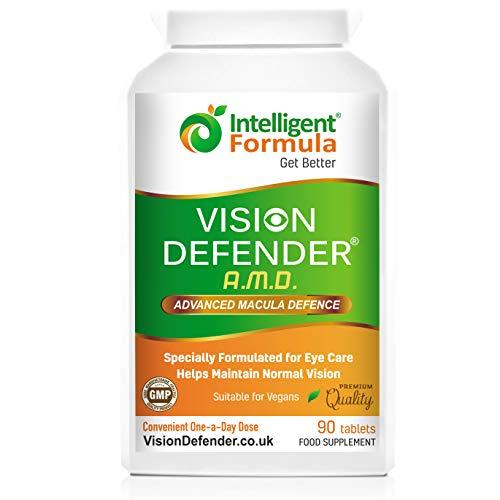 AREDS2 VISION DEFENDER AMD – Fórmula AREDS 2 conveniente para veganos de una vez al día (suministro para 3 meses – 90 tabletas), Suplemento nutricional y de salud para ojos de alta calidad con Luteína, Multivitaminas y Minerales por Intelligent Formula