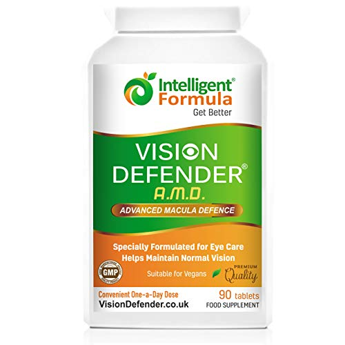 AREDS2 VISION DEFENDER AMD Supplement: Lutein, Zeaxanthin, Zinc, Vitamin E – AREDS 2 Eye Vitamins, Minerals, Nutrients for Eyes. 3 Months Supply (90 tablets) One-A-Day Vegan Eye Supplement. Made in UK