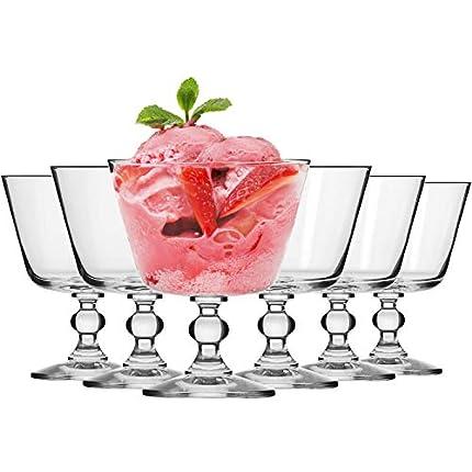 Krosno Copas Helado Postre Cristal Vasos | Conjunto 6 Piezas | 380 ML | Krista Collection Uso en Casa, Restaurante y en Fiestas | Apto para Microondas y Lavavajillas