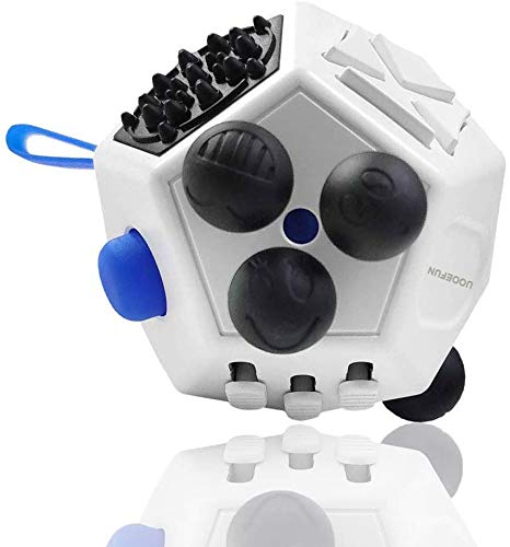 UOOEFUN Fidget Cube Kids,12 Side Fidget Cube,Fidget Toy Cube,Relieves Stress and Anxiety,Relax for Children and Adults with ADHD ADD OCD Autism (White A2)