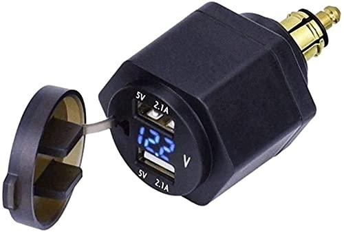 BABYCOW Dual-USB-Schnittstellenanschluss Digitalanzeige-Ladeadapter Dual-USB-Ladegerät für R1250GS R1200GS F800GS F700GS ADV für Triumph Tiger 800 1200,2 Blau