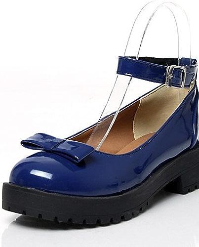 Ggx femmes Cuir verni Chaussures d'été Bout Rond talons Bureau & carrière décontractée Chunky Talon Bowknotnoir bleu vert