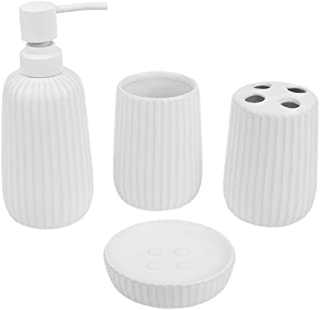 Home Basics Beautiful 4 Pcs Ceramic Durable Bath Accessory Set-Decorative Lotion Dispenser/Dish/Tumbler/Toothbrush Holder (White) Perfect Gift & Decorating Idea