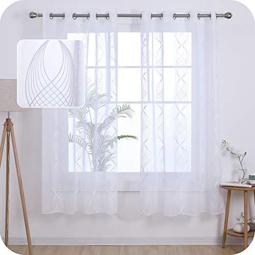 UMI. by Amazon Cortinas Translucidas Decorativas con Motivos Cinta Espiral con Ojales 2 Piezas 140x175cm Blanco