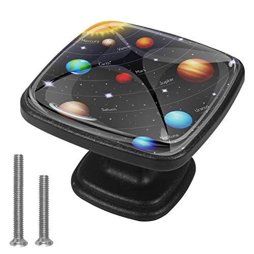 Confezione da 4 pomelli quadrati per armadi e cassetti, sistema solare Mars Earth