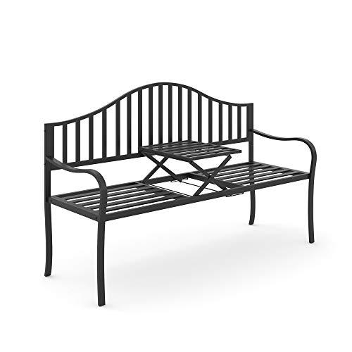 Outsunny Panchina da Giardino 2 Persone con Tavolino Estensibile Metallo 160 x 53 x 95 cm Nero