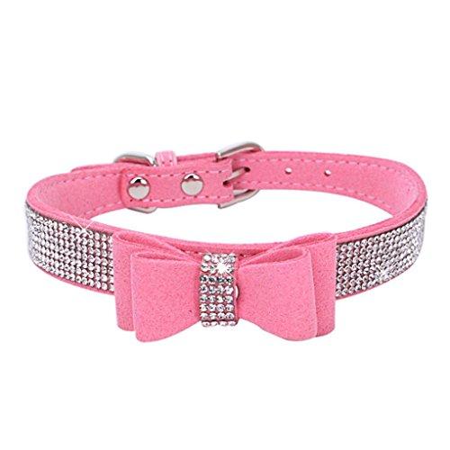 Babysbreath17 Bling Cristal Collar del Gato del Perrito de Metal Ajustable de la Pajarita del Rhinestone Suave Collares para Mascotas Suministros para Perros pequeños Medio Rosado S