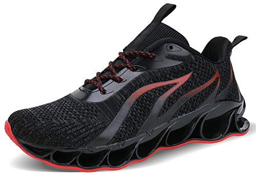 JSLEAP Herren Sneaker Herren Laufschuhe Leichte Klinge Fitness Straße Wanderschuhe Atmungsaktiv rutschfeste Mode Lässig Sneaker (3b Schwarz Rot,Größe 43 EU/265 CN)