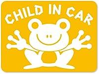 imoninn CHILD in car ステッカー 【マグネットタイプ】 No.22 カエルさん (黄色)