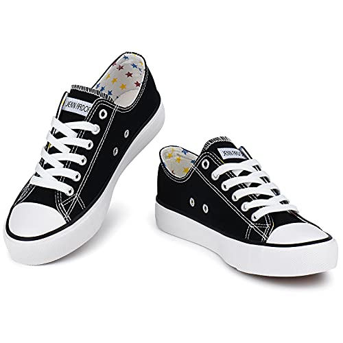 JENN ARDOR Women's Canvas Sneakers Low Top Lace-Up Classic Casual Shoes Fashion Comfortable for Walking