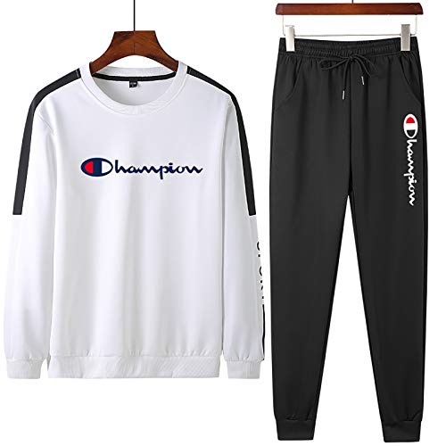 XIAOQSM Chándal de Hombre Top Bottom Gym Dogger JOUNGER Completo STORDS Sweets Jogging Sports Suit White- 4XL