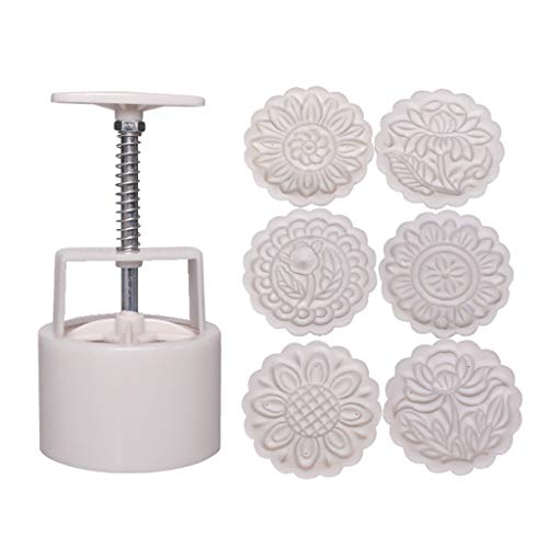150g Mooncake Mold with 6 Pcs Round Shape Flower Stamps,Mooncake Hand Pressure Pastry Mould,DIY Baking Tool Mid-autumn Festival