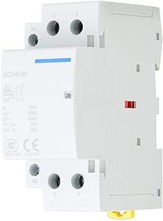 Household AC Contactor, 2P 63A 24V 220V/230V 50/60Hz Household AC Contactor 2 Pole DIN Rail Mount 1NO 1NC Replacement AC Contactor(220V/230V)