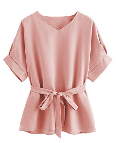 Milumia Women's Casual V Neckline Self Tie Short Sleeve Oversize Blouse Tunic Tops Pink X-Large