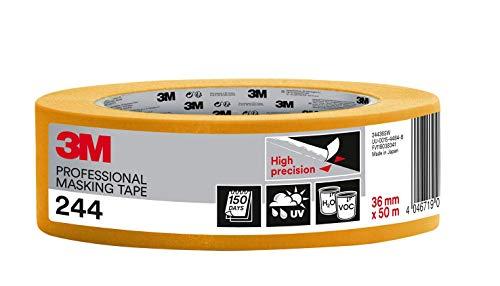 3M 244 Profi Malerband für scharfe Farbkanten, UV-beständig, innen und außen, 36 mm x 50 m