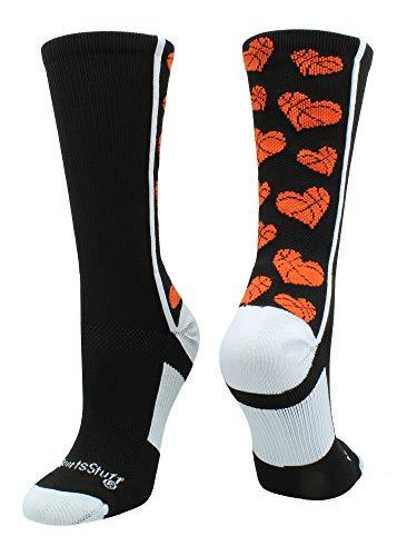 Crazy Basketball Hearts Crew Socks (Black/Orange, Small)