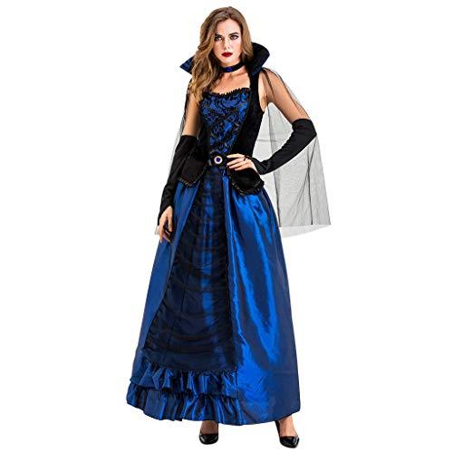 mounter- Damen Halloween-/Cosplay-/Hexen-Kleid, langes Kleid, Vintage-Stil, Mittelalter-/Gothic-Kleid, Blau - blau - Größe: X-Large