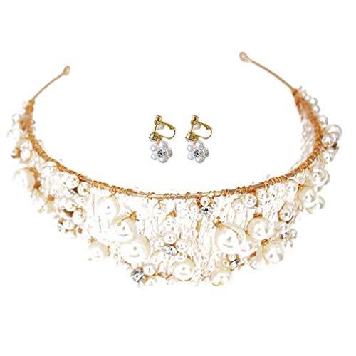 QIANGU Pendientes de moda, coreano de imitación de perlas grandes de cristal de la diadema de las mujeres de la novia de la corona