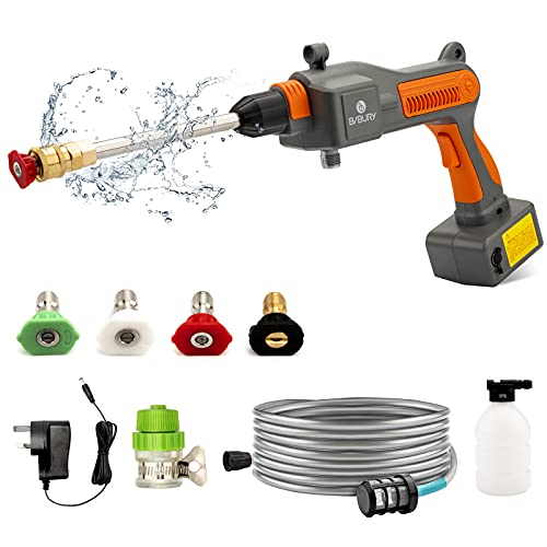 BIBURY Cordless Pressure Cleaner, 25 Bar Portable Pressure Washer with Foam Generator, 4 Replaceable Nozzle, 4Ah Rechargeable Lithium Battery and 6M Garden Hose for Car Home Garden Wash