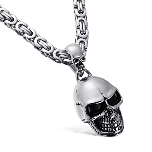 MASARWA Mens Stainless Steel Silver Skull Pendant Necklace Chain Punk Biker Hip Hop Jewellery 60cm