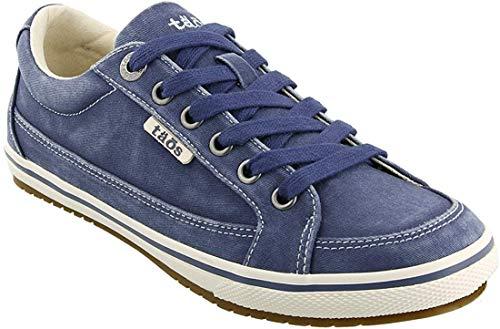 Taos Footwear Women's Moc Star Indigo Distressed Sneaker 8.5 M US