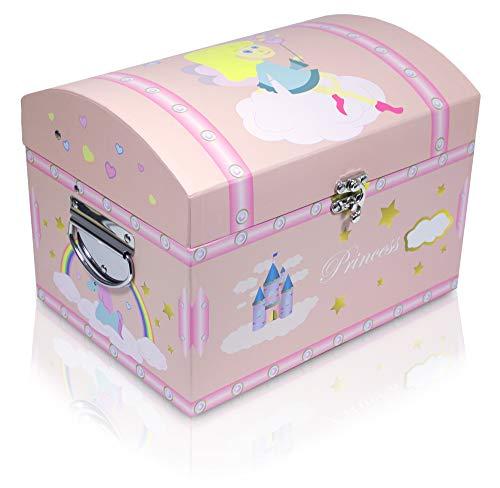 Das Kostümland Rosa Schatzkiste mit Einhorn für kleine und große Prinzessinnen - Mittel - Box, Schatztruhe, Kiste für Geburtstag, Hochzeit und Mottoparty