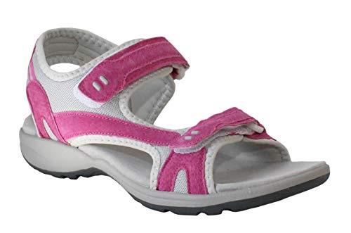 Sandalias deportivas de piel de ante para mujer, con correa de doble cierre, talla 4-8, color Gris, talla 38 EU