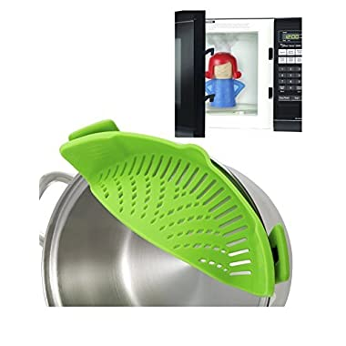 Clip On Silicone Strainer Colander Fits all Pots and Bowls. PLUS Angry Mama microwave steam cleaner by Magnetor Plus