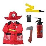 Earlyad Disfraz de jefe de bomberos de 6 piezas Disfraz marvelously