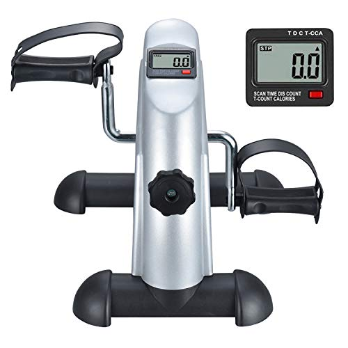 TODO Mini Exercise Bike Pedal Exerciser Foot Peddler Portable Therapy Bicycle with Digital Monitor (Silver)