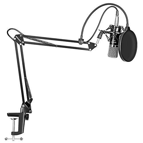 Microfono a Condensatore Professionale Studio Audio Registrazione Microfono Registrazione Broadcast Microfono Studio, Sospensione Supporto Forbice, Attacco Shock, Kit Morsetti Montaggio, Filtro Pop