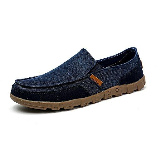 VILOCY Hombres Retro Pantalones Lona Ponerse Zapatos Casual Conducción Mocasín Pisos Sneaker Mocasines Azul,47